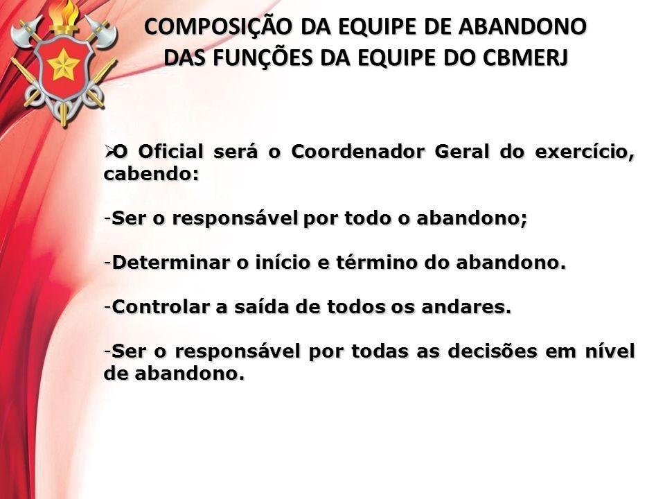 COMPOSIÇÃO DA EQUIPE DE ABANDONO DAS FUNÇÕES DA EQUIPE DO CBMERJ