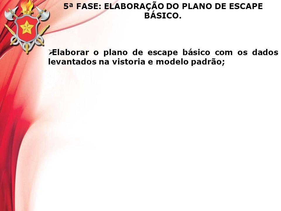 5ª FASE: ELABORAÇÃO DO PLANO DE ESCAPE BÁSICO.