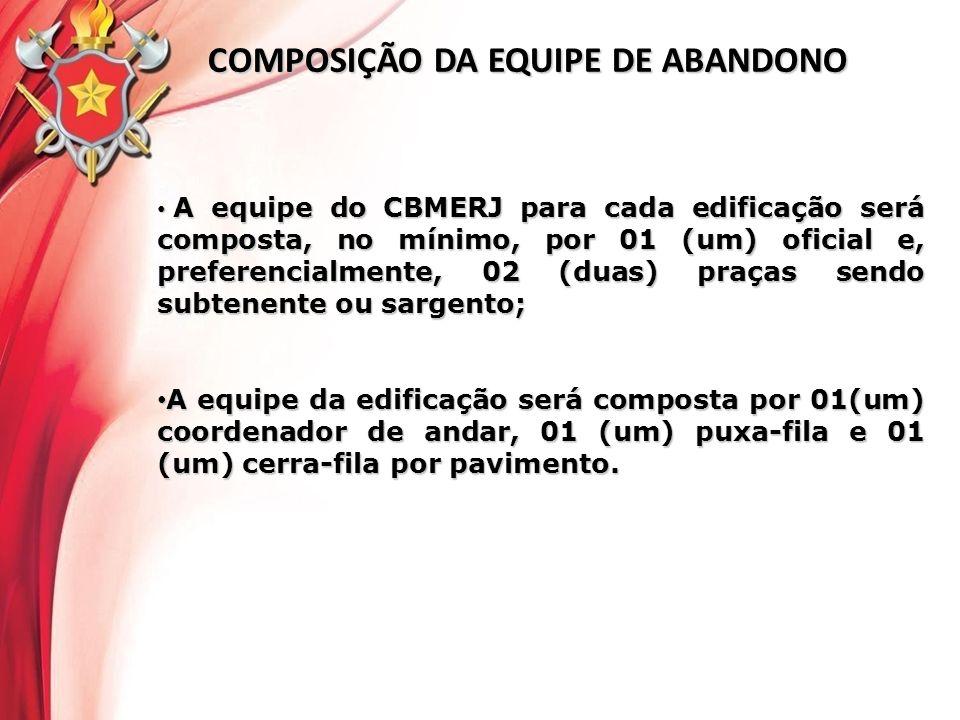 COMPOSIÇÃO DA EQUIPE DE ABANDONO