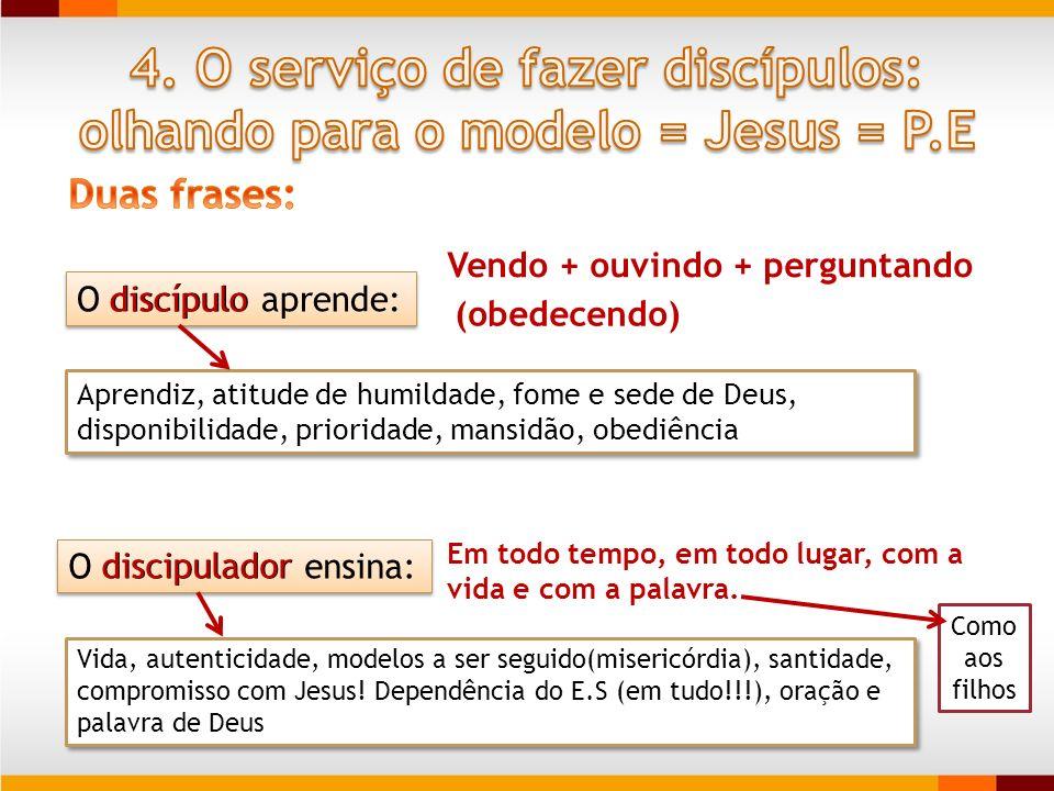 4. O serviço de fazer discípulos: olhando para o modelo = Jesus = P.E