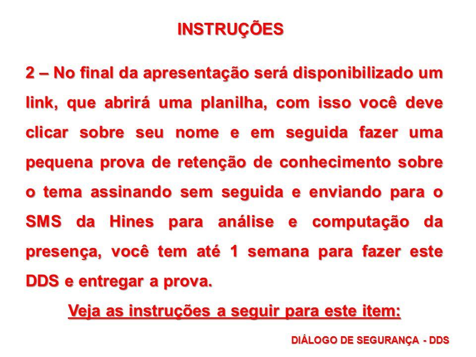 Veja as instruções a seguir para este item: DIÁLOGO DE SEGURANÇA - DDS