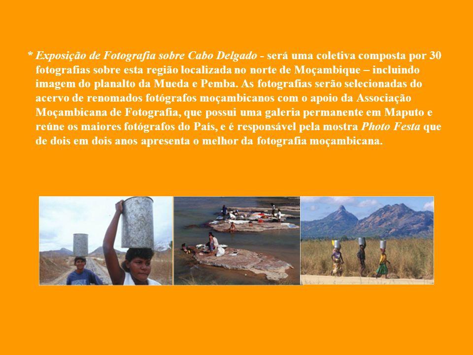 * Exposição de Fotografia sobre Cabo Delgado - será uma coletiva composta por 30 fotografias sobre esta região localizada no norte de Moçambique – incluindo imagem do planalto da Mueda e Pemba.