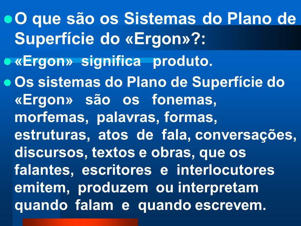 O que são os Sistemas do Plano de Superfície do «Ergon» :