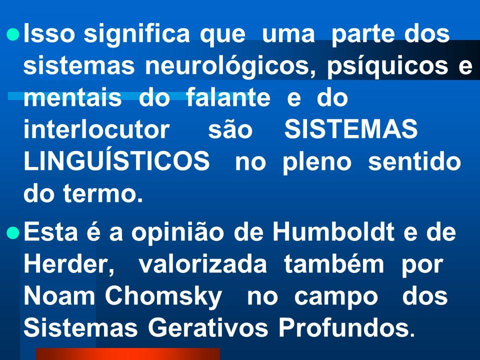 Isso significa que uma parte dos sistemas neurológicos, psíquicos e mentais do falante e do interlocutor são SISTEMAS LINGUÍSTICOS no pleno sentido do termo.