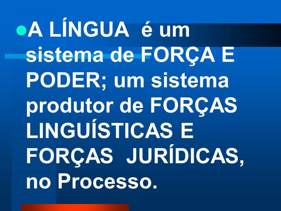 A LÍNGUA é um sistema de FORÇA E PODER; um sistema produtor de FORÇAS LINGUÍSTICAS E FORÇAS JURÍDICAS, no Processo.