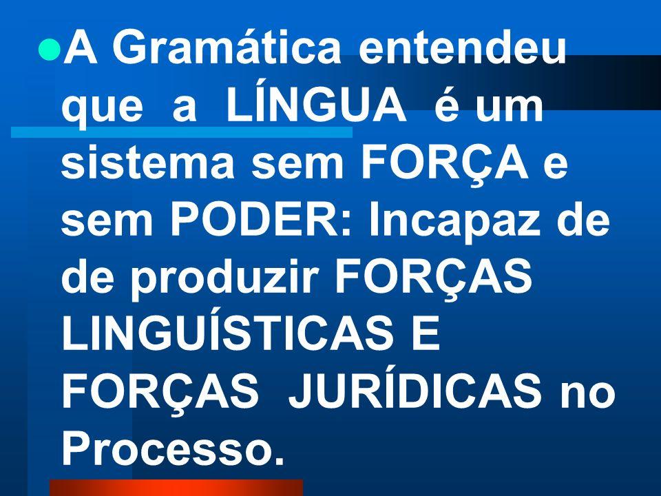 A Gramática entendeu que a LÍNGUA é um sistema sem FORÇA e sem PODER: Incapaz de de produzir FORÇAS LINGUÍSTICAS E FORÇAS JURÍDICAS no Processo.