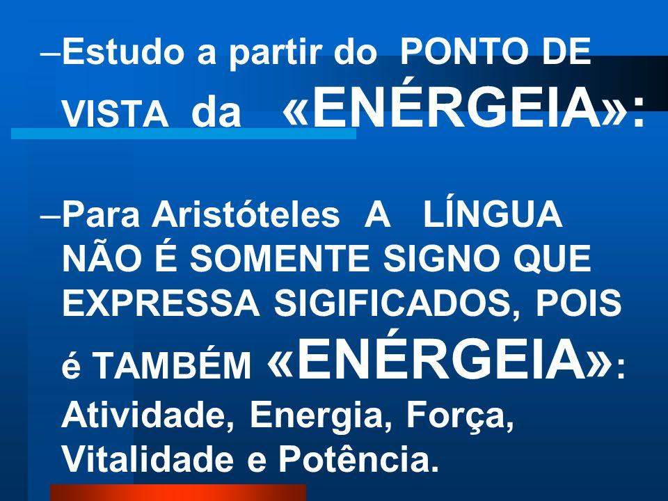 Estudo a partir do PONTO DE VISTA da «ENÉRGEIA»: