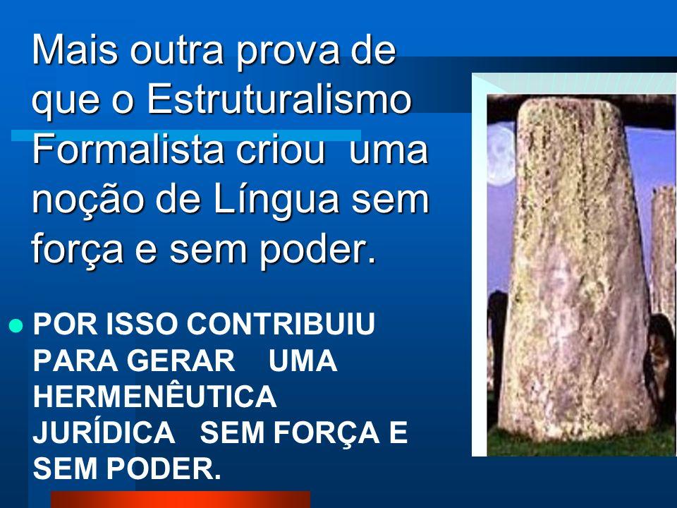 Mais outra prova de que o Estruturalismo Formalista criou uma noção de Língua sem força e sem poder.
