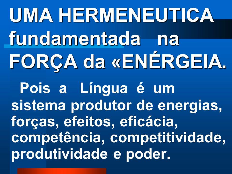 UMA HERMENEUTICA fundamentada na FORÇA da «ENÉRGEIA.