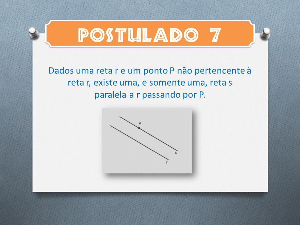 POSTULADO 7 Dados uma reta r e um ponto P não pertencente à reta r, existe uma, e somente uma, reta s paralela a r passando por P.