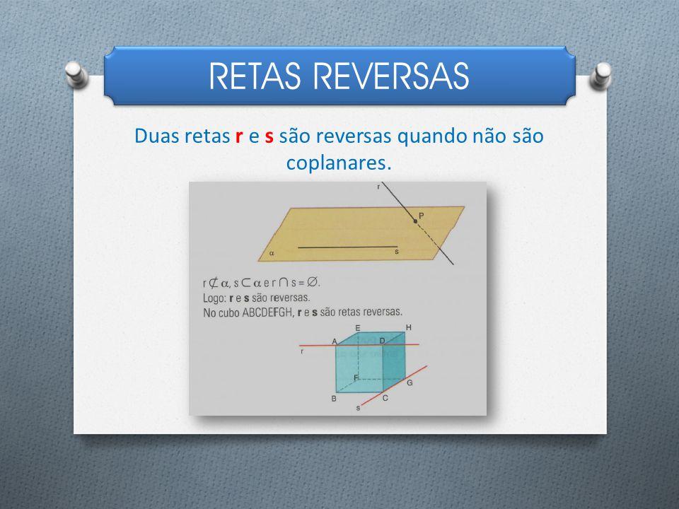 Duas retas r e s são reversas quando não são coplanares.