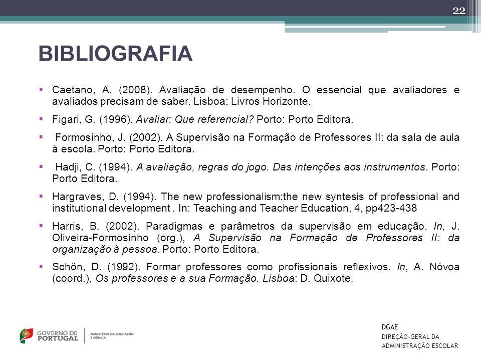 BIBLIOGRAFIA Caetano, A. (2008). Avaliação de desempenho. O essencial que avaliadores e avaliados precisam de saber. Lisboa: Livros Horizonte.