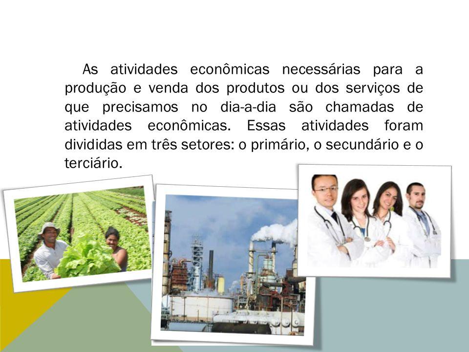 As atividades econômicas necessárias para a produção e venda dos produtos ou dos serviços de que precisamos no dia-a-dia são chamadas de atividades econômicas.