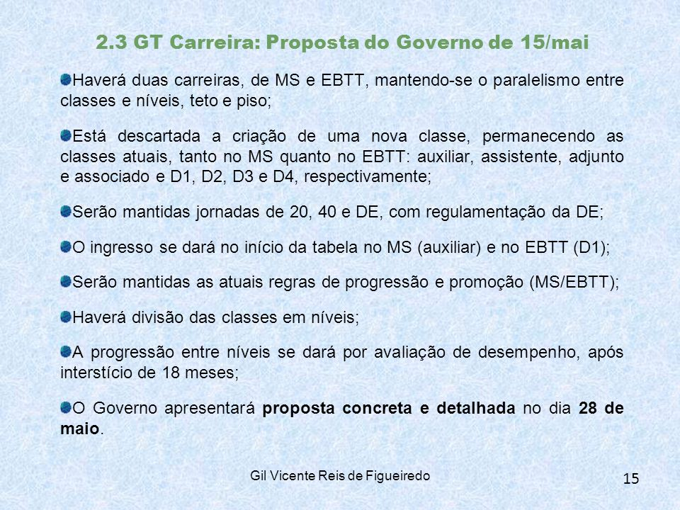 2.3 GT Carreira: Proposta do Governo de 15/mai