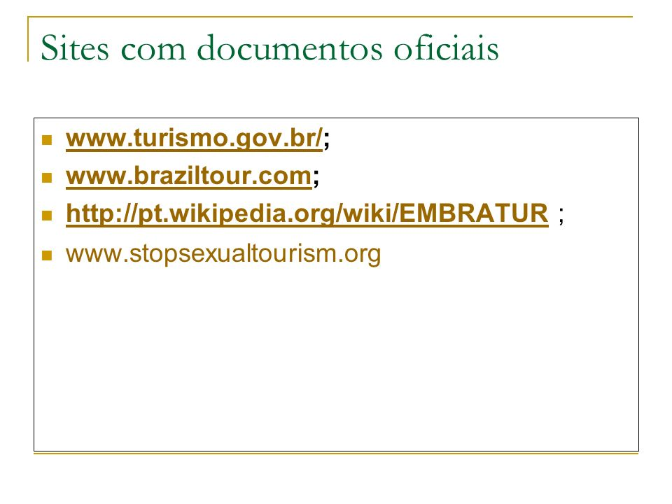 Sites com documentos oficiais