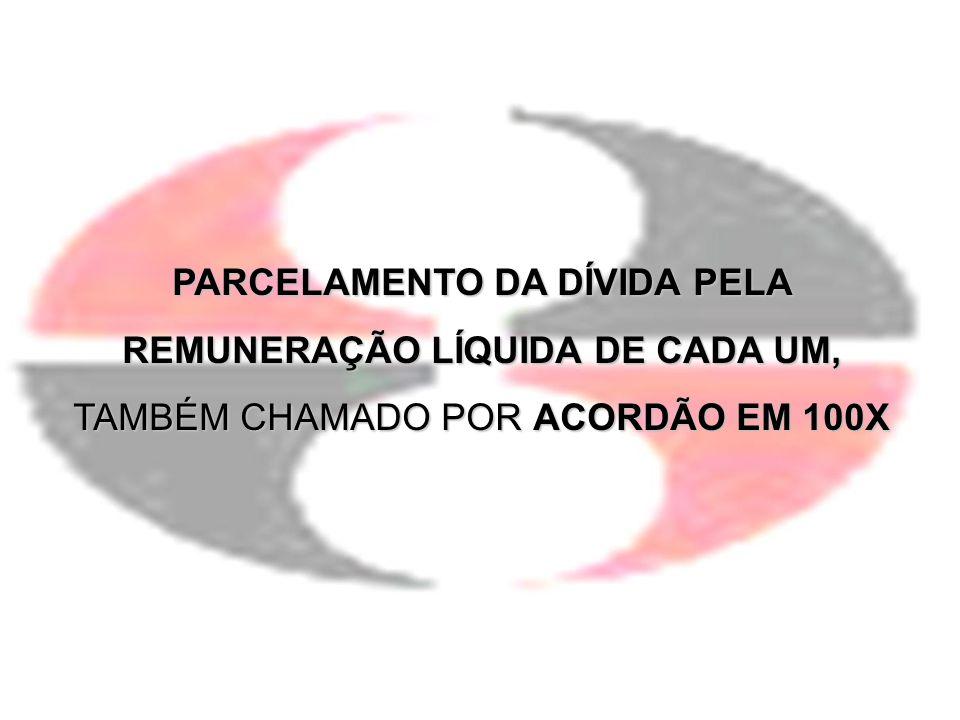 PARCELAMENTO DA DÍVIDA PELA REMUNERAÇÃO LÍQUIDA DE CADA UM,