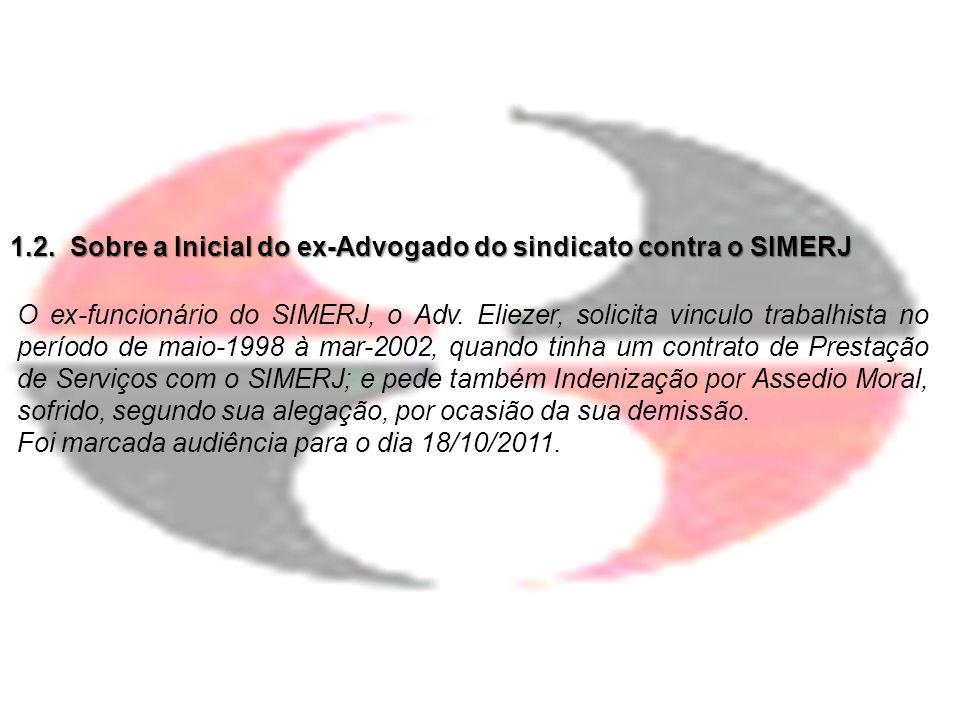 1.2. Sobre a Inicial do ex-Advogado do sindicato contra o SIMERJ