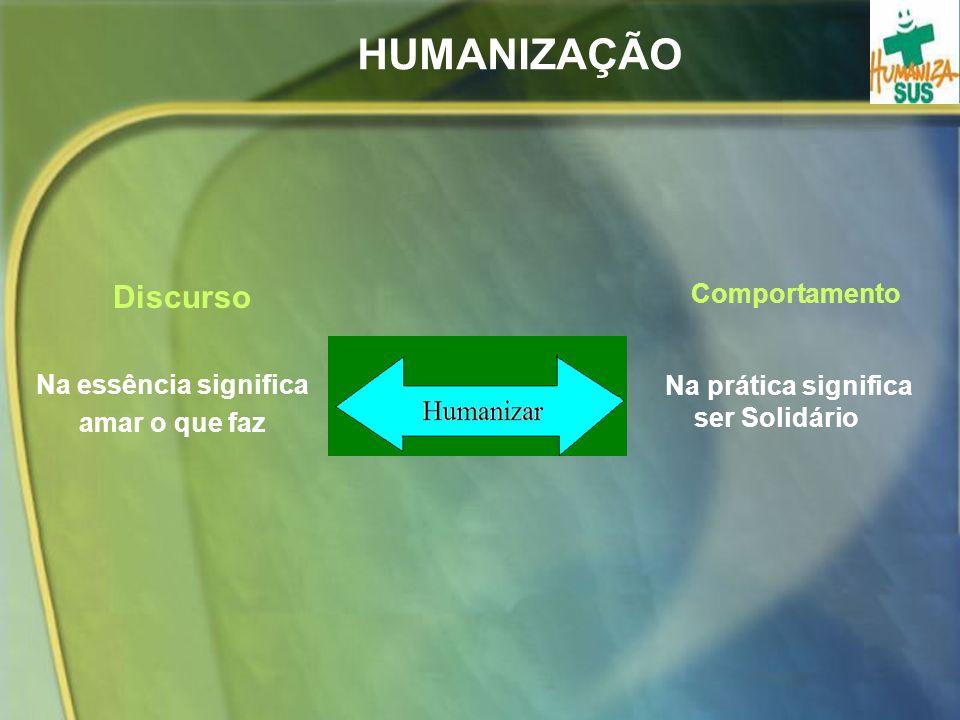 HUMANIZAÇÃO Discurso Na essência significa