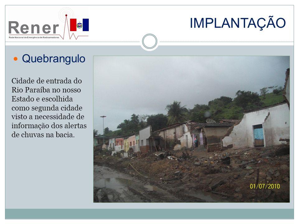 Implantação Quebrangulo Cidade de entrada do Rio Paraíba no nosso