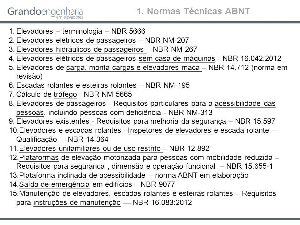 1. Normas Técnicas ABNT Elevadores – terminologia – NBR 5666