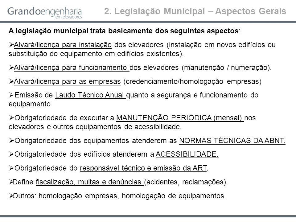 2. Legislação Municipal – Aspectos Gerais