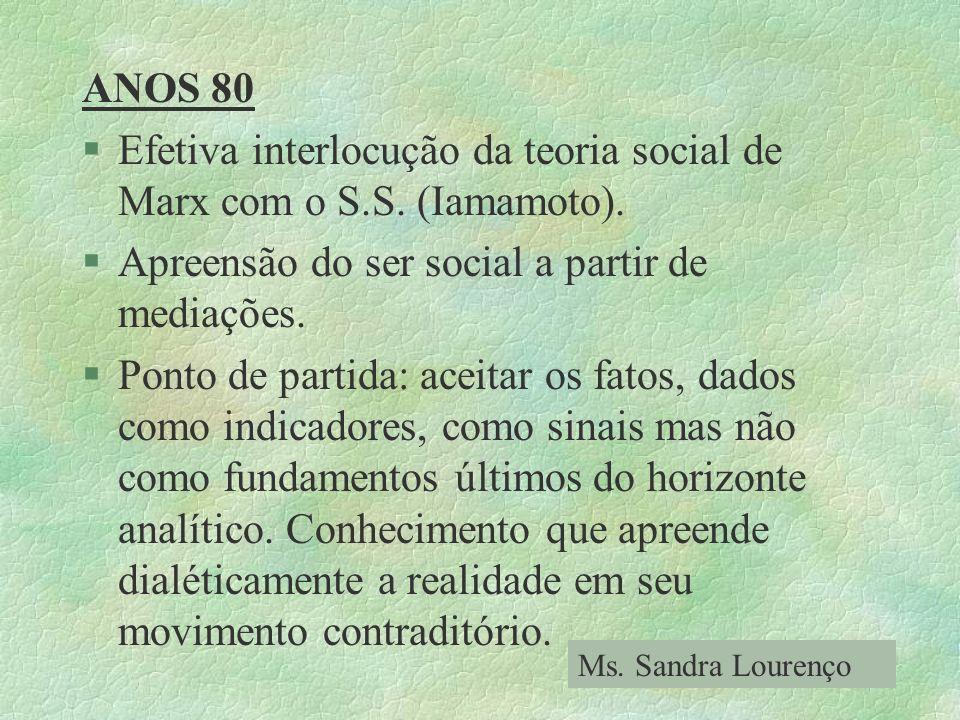 Efetiva interlocução da teoria social de Marx com o S.S. (Iamamoto).