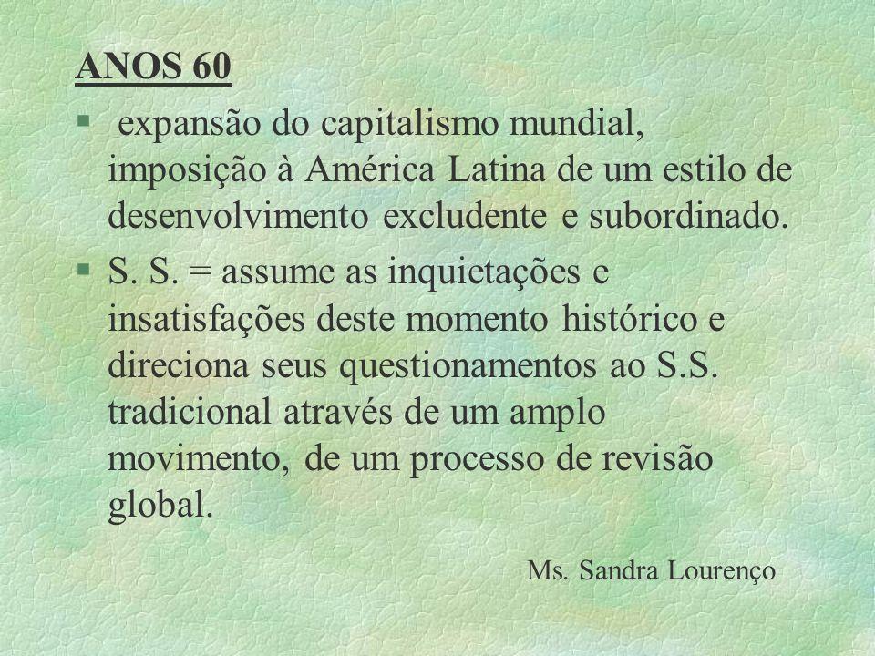 ANOS 60 expansão do capitalismo mundial, imposição à América Latina de um estilo de desenvolvimento excludente e subordinado.