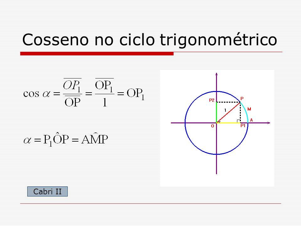 Cosseno no ciclo trigonométrico