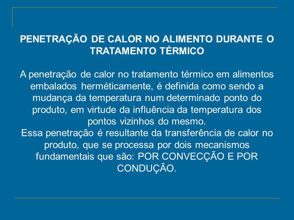 PENETRAÇÃO DE CALOR NO ALIMENTO DURANTE O TRATAMENTO TÉRMICO