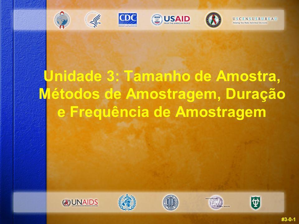 Unidade 3: Tamanho de Amostra, Métodos de Amostragem, Duração e Frequência de Amostragem