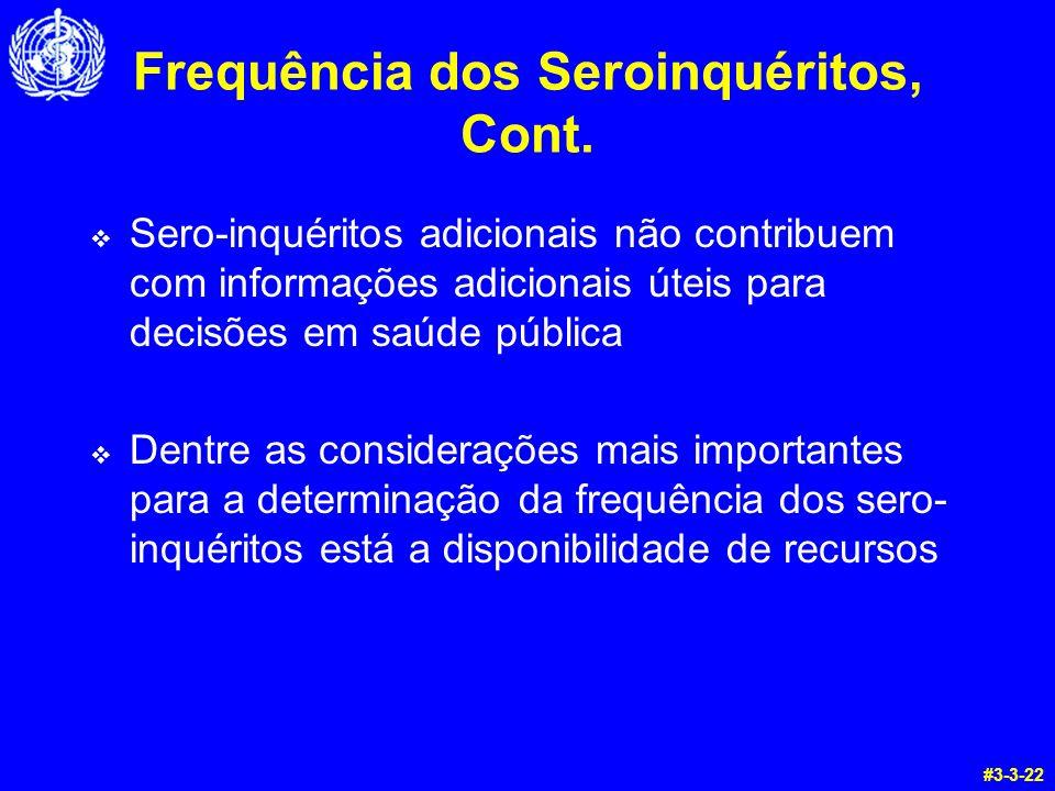 Frequência dos Seroinquéritos, Cont.