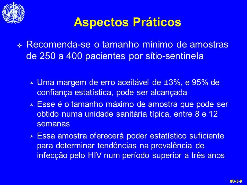 Aspectos Práticos Recomenda-se o tamanho mínimo de amostras de 250 a 400 pacientes por sítio-sentinela.