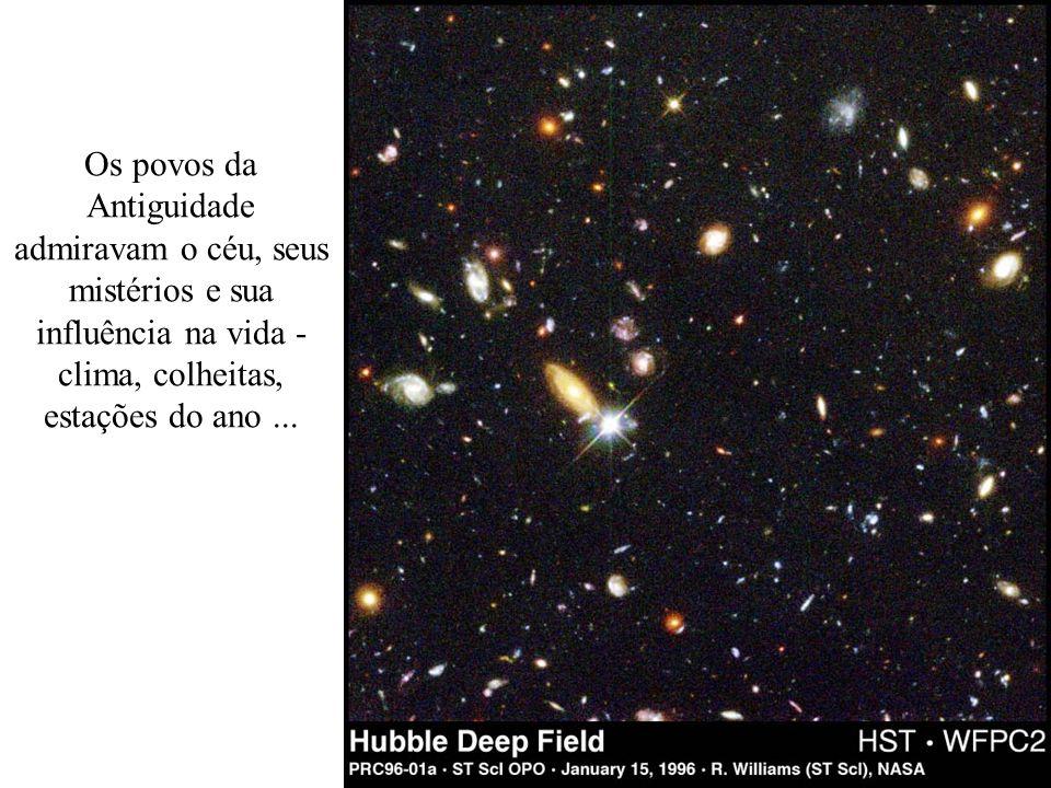 Os povos da Antiguidade admiravam o céu, seus mistérios e sua influência na vida - clima, colheitas, estações do ano ...