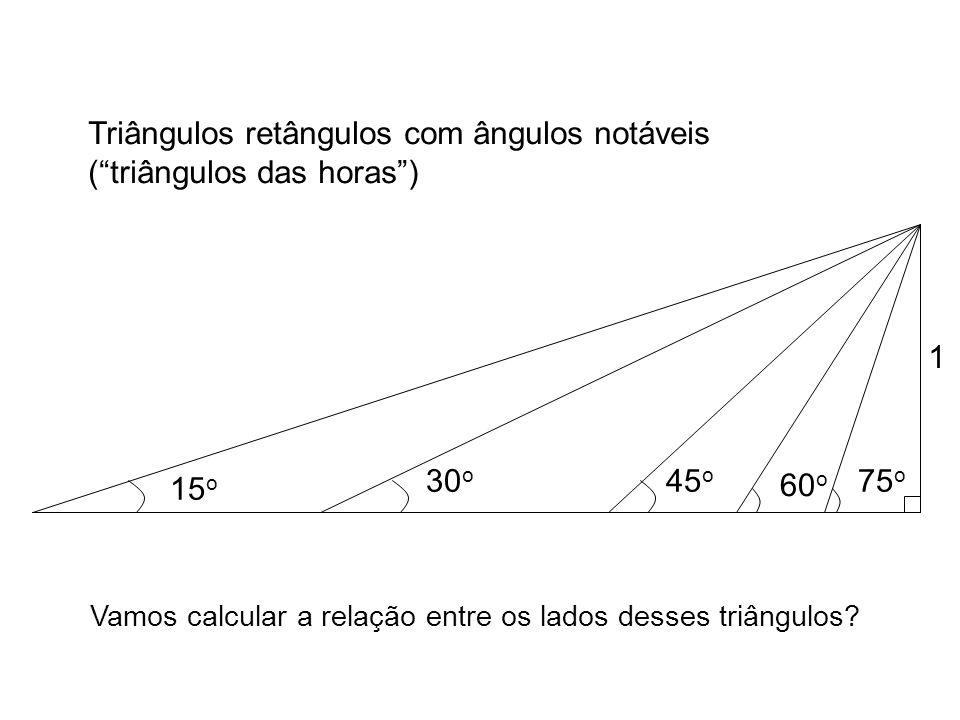 Triângulos retângulos com ângulos notáveis ( triângulos das horas )