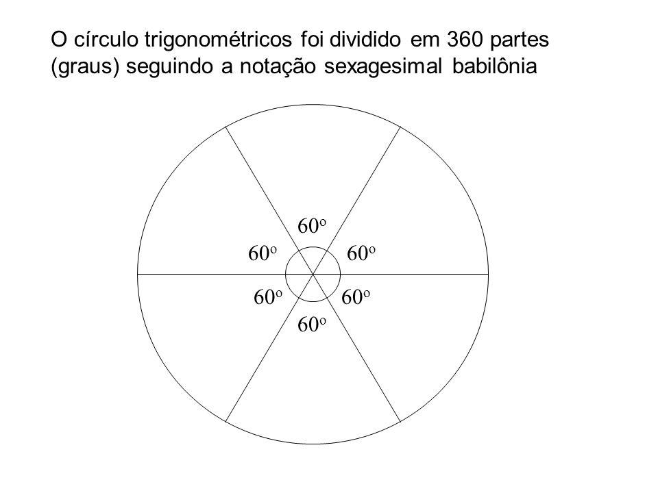 O círculo trigonométricos foi dividido em 360 partes (graus) seguindo a notação sexagesimal babilônia