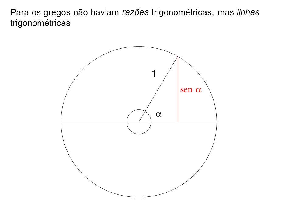 Para os gregos não haviam razões trigonométricas, mas linhas trigonométricas