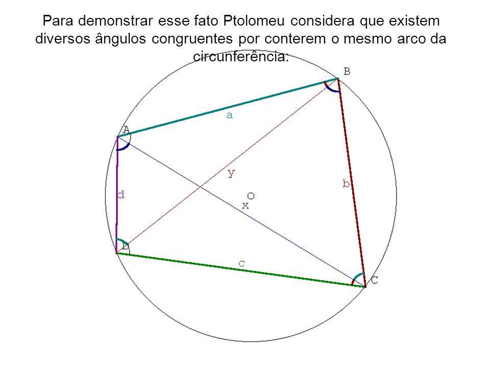 Para demonstrar esse fato Ptolomeu considera que existem diversos ângulos congruentes por conterem o mesmo arco da circunferência:
