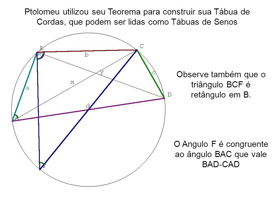 Observe também que o triângulo BCF é retângulo em B.