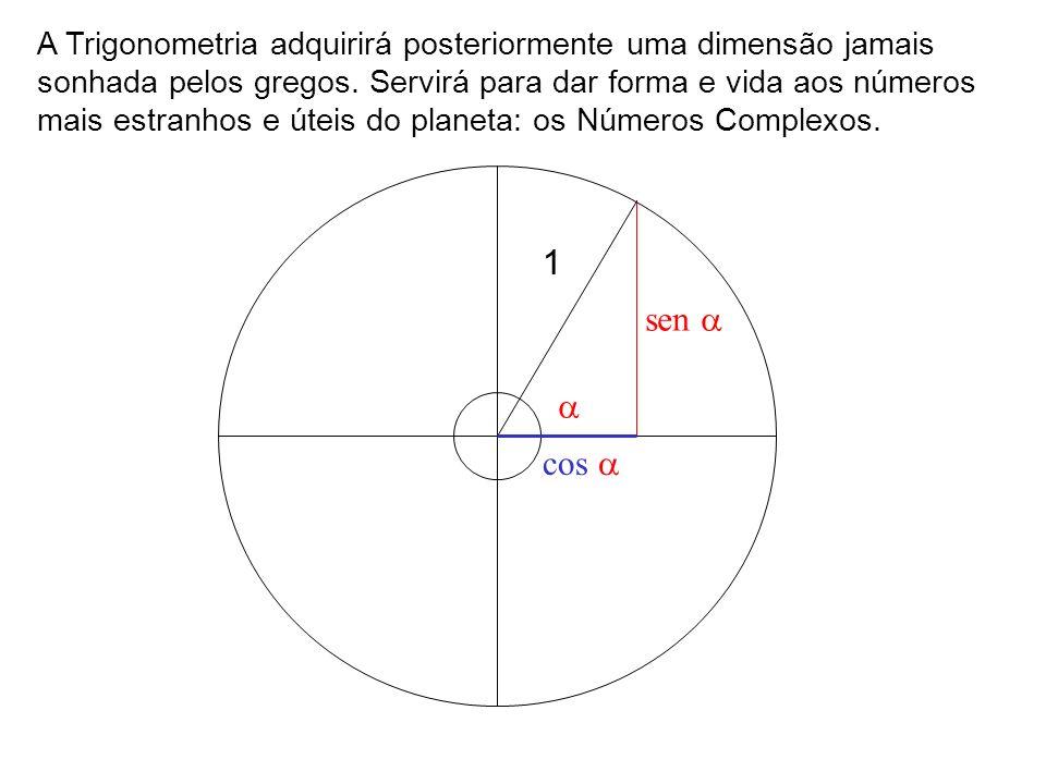 A Trigonometria adquirirá posteriormente uma dimensão jamais sonhada pelos gregos. Servirá para dar forma e vida aos números mais estranhos e úteis do planeta: os Números Complexos.