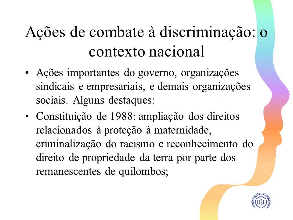 Ações de combate à discriminação: o contexto nacional