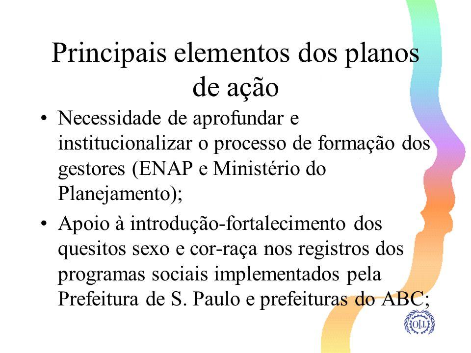 Principais elementos dos planos de ação