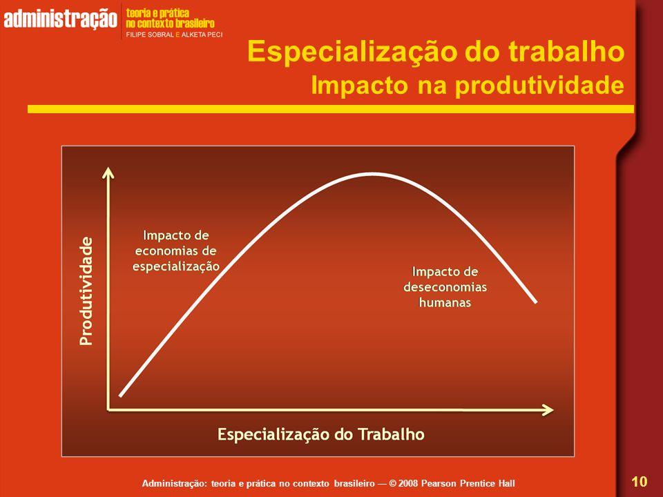 Especialização do trabalho Impacto na produtividade