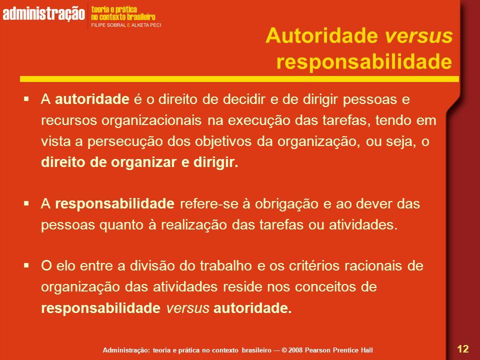 Autoridade versus responsabilidade
