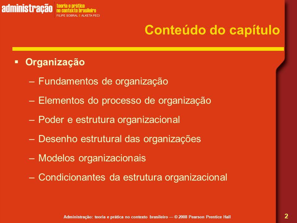 Conteúdo do capítulo Organização Fundamentos de organização