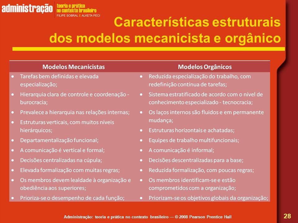 Características estruturais dos modelos mecanicista e orgânico