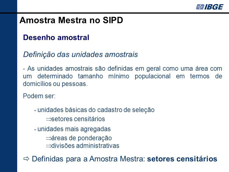 Amostra Mestra no SIPD Desenho amostral