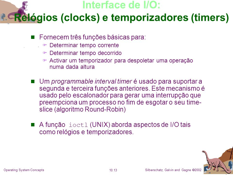 Interface de I/O: Relógios (clocks) e temporizadores (timers)