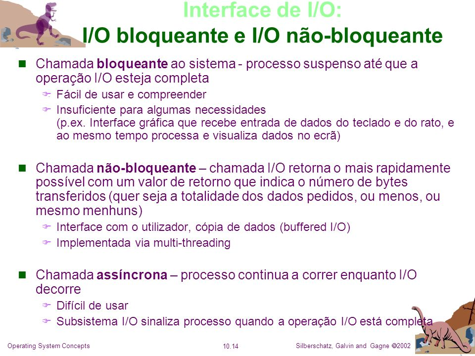 Interface de I/O: I/O bloqueante e I/O não-bloqueante