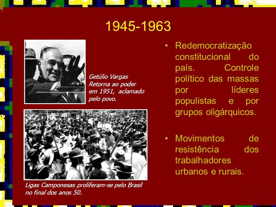 1945-1963Redemocratização constitucional do país. Controle político das massas por líderes populistas e por grupos oligárquicos.