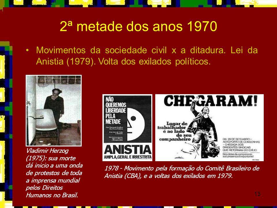 2ª metade dos anos 1970Movimentos da sociedade civil x a ditadura. Lei da Anistia (1979). Volta dos exilados políticos.